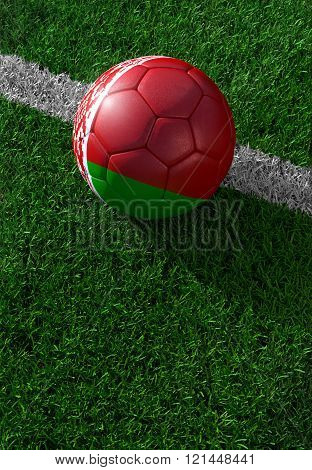 Soccer Ball And National Flag Of Belarus,  Green Grass