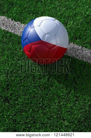 Soccer Ball And National Flag Of Czech Republic,  Green Grass