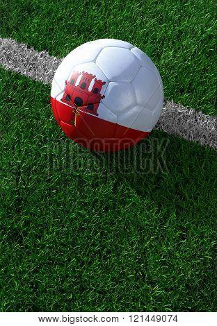 Soccer Ball And National Flag Of Gibraltar,  Green Grass