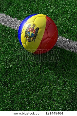 Soccer Ball And National Flag Of Moldova,  Green Grass