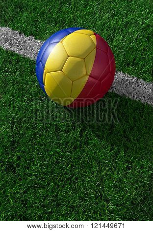 Soccer Ball And National Flag Of Romania,  Green Grass
