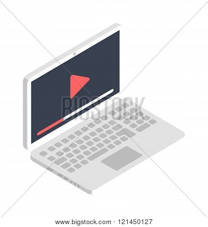 Isometric laptop icon illustration flat design.