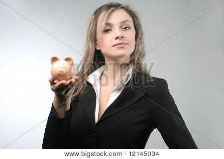 a portrait of a woman with a money-box