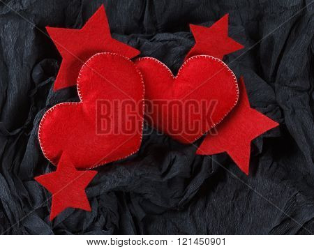 Red Hearts On Black Paper Background