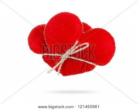 Hearts Together Tightly Bound With Rope, Concept Of Love. Isolated On White Background