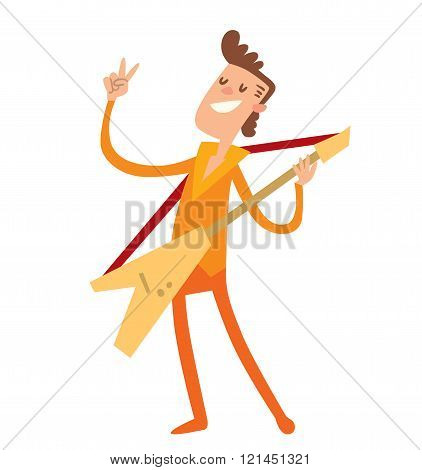Musician cartoon characters with guitar isolated on white background.