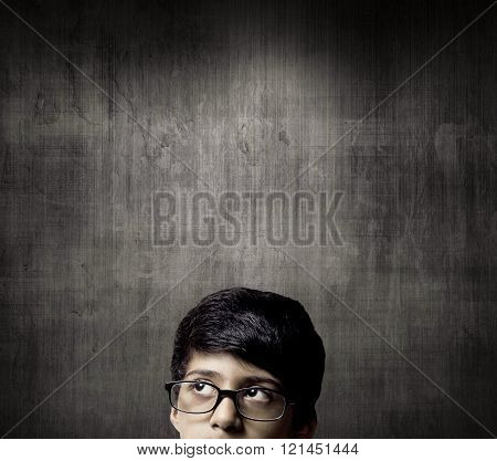 Thinking Half Head Of Genius Little Boy Wearing Glasses Thinking Before A Chalkboard