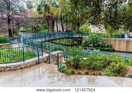 Scenic Views of the Arched Walkways at the Riverwalk on a Rainy Day at San Antonio, Texas.
