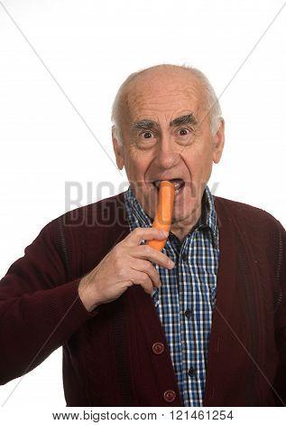 Old Man Eating Carrot