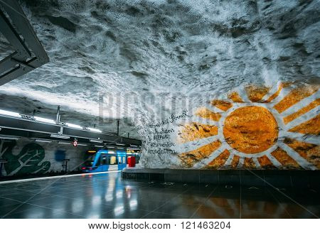 Modern Stockholm Metro Train Station, Sweden. Underground, Tunne