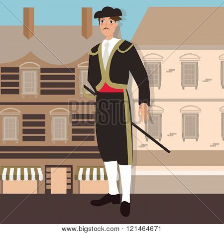 spanish spain costume mexico traditional hat clothes in front colonial building traje de luces bull