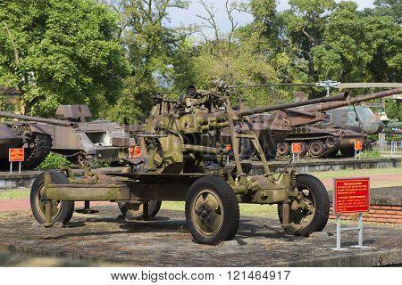 37-mm anti-aircraft gun in the city Hue, Vietnam