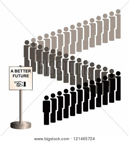 Sepia representation of economic migrants and refugee migration with people queuing for a better future isolated on white background poster