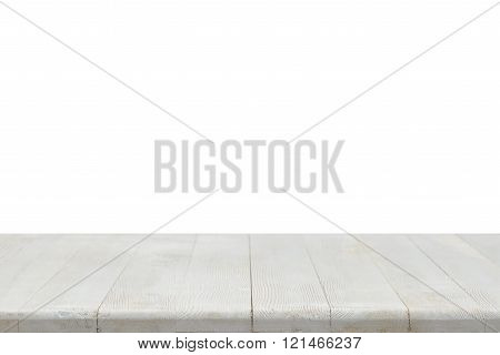 Photo of white clean wooden table. Background texture.