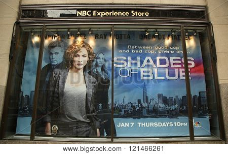 NBC Experience Store window display decorated with Shades of Blue television event logo