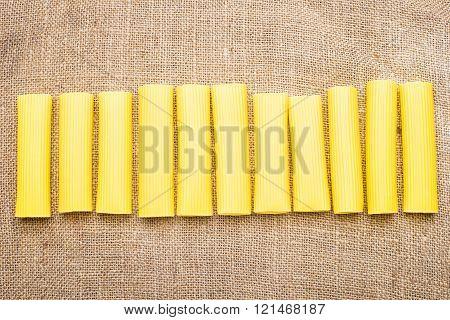 Great pasta on burlap