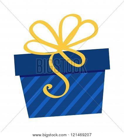 Gft holiday box for birthday with ribbon cartoon vector icon