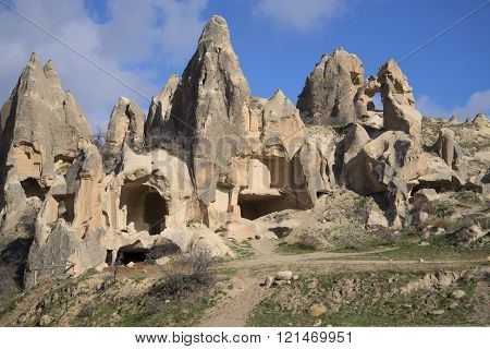 Remains of ancient dwellings in the rocks of Cappadocia