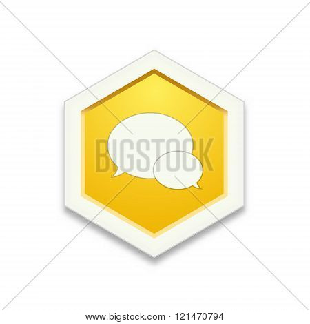 the illustration of yellow hexagon shape with speech bubbles pictogram