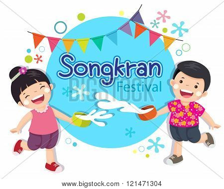 Boy And Girl Enjoy Splashing Water In Songkran Festival Thailand.