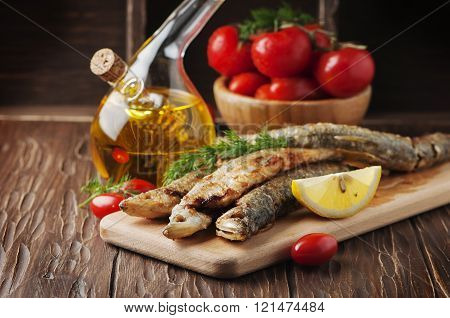 Traditional Russian Fish Smelt On The Wooden Table