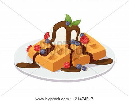 Belgium waffles with chocolate cream, ice cream and strawberries isolated on white background vector