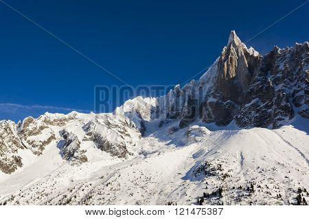 Aiguilles du Alpes from the Mer de Glace Chamonix Savoie Rhône-Alpes France
