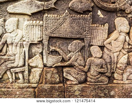 Ancient Stone Carving of Ancient Khmer LIfe Style