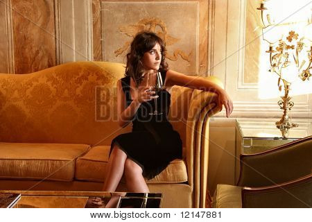 a woman in a luxury sitting room