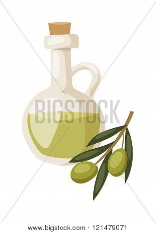 Glass bottle of premium virgin olive oil and some olives with leaves isolated on a white background.