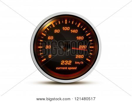 Isolated Speedometer Shows Current Speed Of 232 Kilometers An Hour On A Green Background