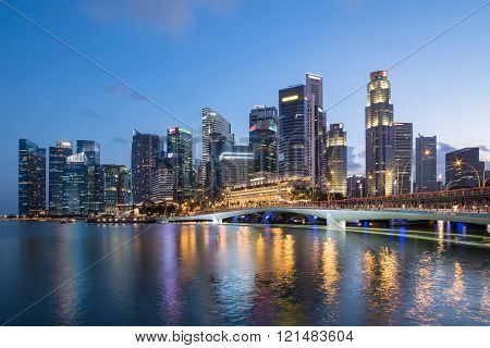 Colorful Singapore business district skyline.