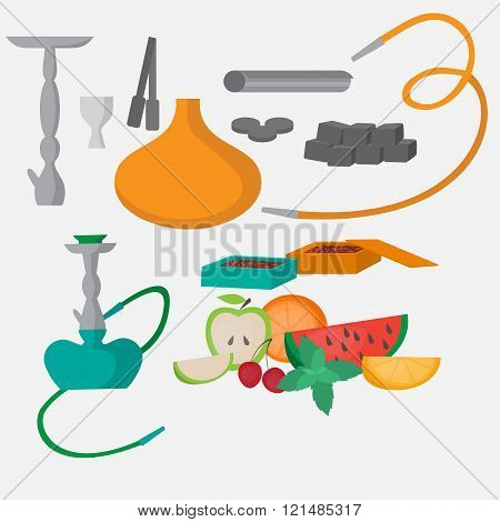 Set Of Hookah Icons. Waterpipes, Charcoal And Accessories. Labels For Shishe Shop Or Nargile Lounge,