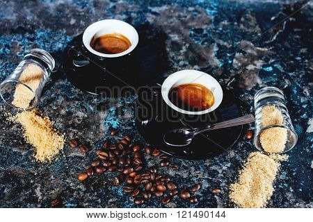 Two Espresso Cups Of Coffee, Strong Ristretto Served In Italian Cafe
