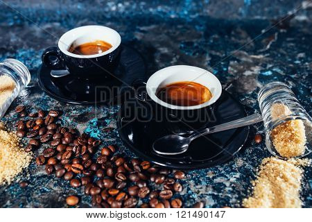 Double  Espresso Served At Restaurant And Pub