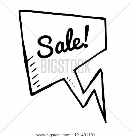 Sale doodle speech bubble vector discount tag white banner. isolated