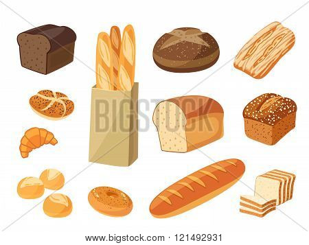 Set Of Cartoon Food: Bread - Rye Bread, Ciabatta, Wheat Bread, Whole Grain Bread, Bagel, Sliced Brea