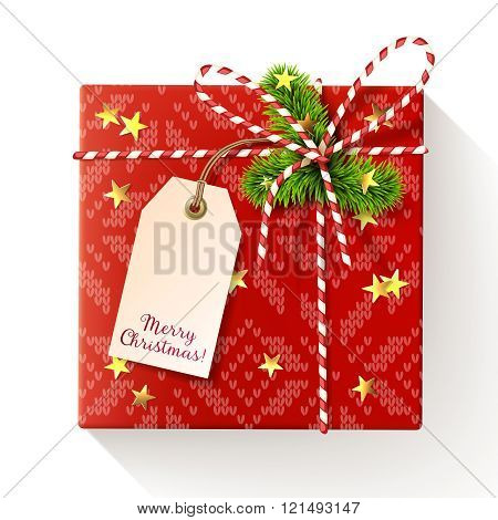 Red Square Christmas Gift Box With Tag, Decorated With Red-and-white Twisted Cord, Spruce Twigs And