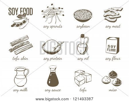 Set Of Monochrome Cartoon Soy Food Illustrations - Soy Milk, Soy Sauce, Soy Meat, Tofu, Miso And So