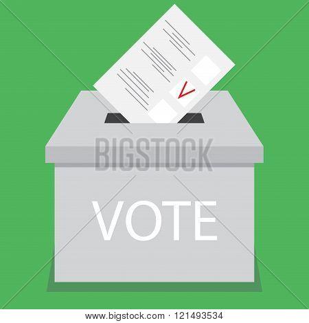 Ballot Box Design Flat Vote
