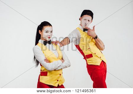 Two Funny Mimes Isolated On White Background