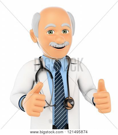 3D Doctor With Thumbs Up