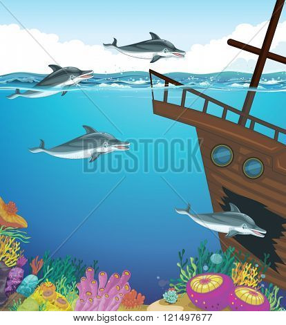 Dolphins swimming under the sea illustration