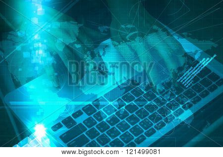 Double Exposure Of Business Man Use Notebook With Digital Technology Scene
