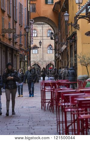 Bologna, Italy - 05 March, 2016:general View Of The Downtown Streets. Bologna Is The Largest City (a