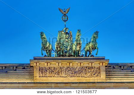 Detail of the Quadriga on top of the famous Brandenburger Tor in Berlin at night