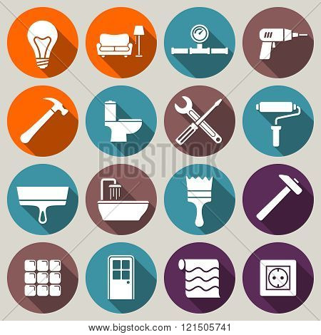 Home renovation icons