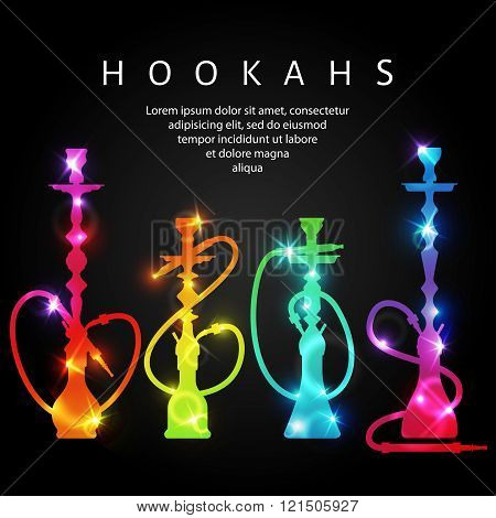 Vector neon shining hookahs