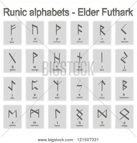 Set of monochrome icons with runic alphabets