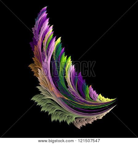 Colorful fractal abstract like wing in black background